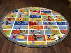 NEW ANIMAL ABC LEARNING CIRCLE 133X133CM MAT RUG SCHOOL HOME MULTICOLOUR